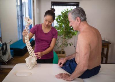 Chiropraktorin erklärt Wirbelsäule an Modell